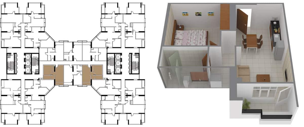 Mặt bằng căn hộ 1 phòng ngủ 51m2