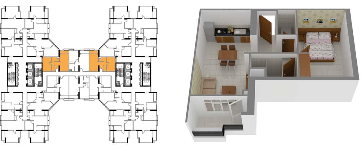 Mặt bằng căn hộ 1 phòng ngủ 54m2