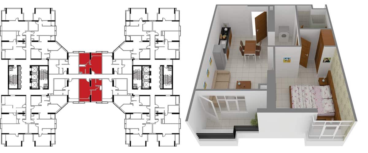Mặt bằng căn hộ 1 phòng ngủ 55m2