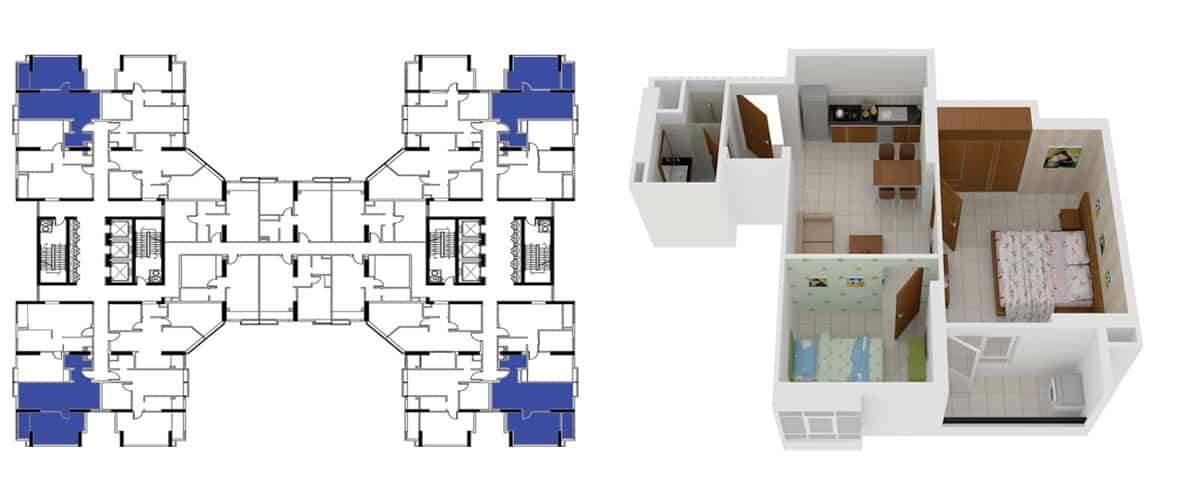 Mặt bằng căn hộ 2 phòng ngủ 63m2