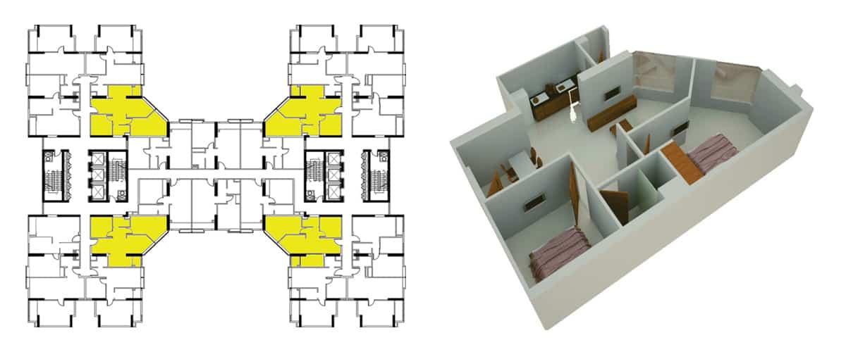 Mặt bằng căn hộ 2 phòng ngủ 70m2